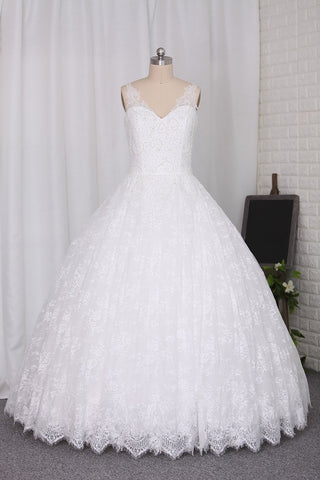 2019 New Wedding Dress Ball Gown Spaghetti Straps Floor-Length  Lace Zipper Back