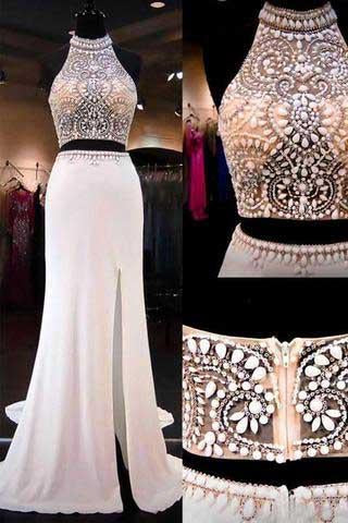 Two Pieces Mermaid Long Halter Beaded Custom Cheap With Slit Prom Dresses JS145