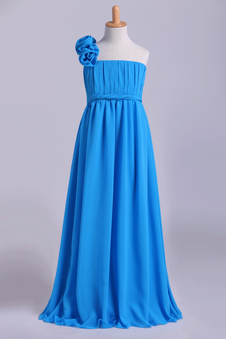 Junior Bridesmaid Dresses A-Line One Shoulder Chiffon With Handmade Flower Floor Length