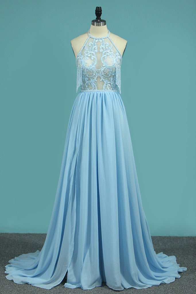 A Line Chiffon Halter Prom Dresses With Applique And Slit Sweep Train