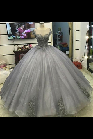 2019 New Arrival Quinceanera Dresses Scoop Tulle With Applique Floor Length Ball Gown