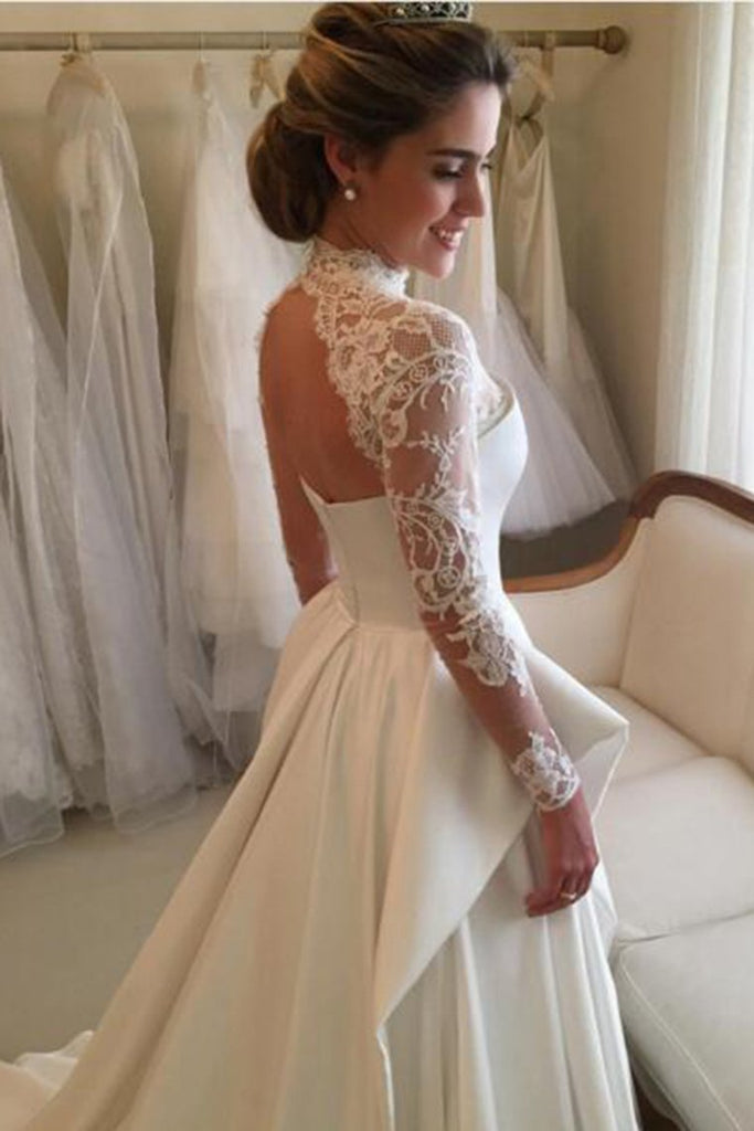 High Neck Open Back Long Sleeves Wedding Dresses A Line Satin