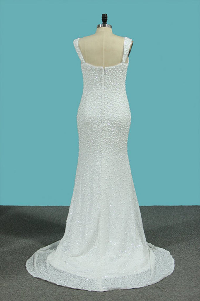New Arrival Mermaid Straps Wedding Dresses Lace & Chiffon With Beads Court Train