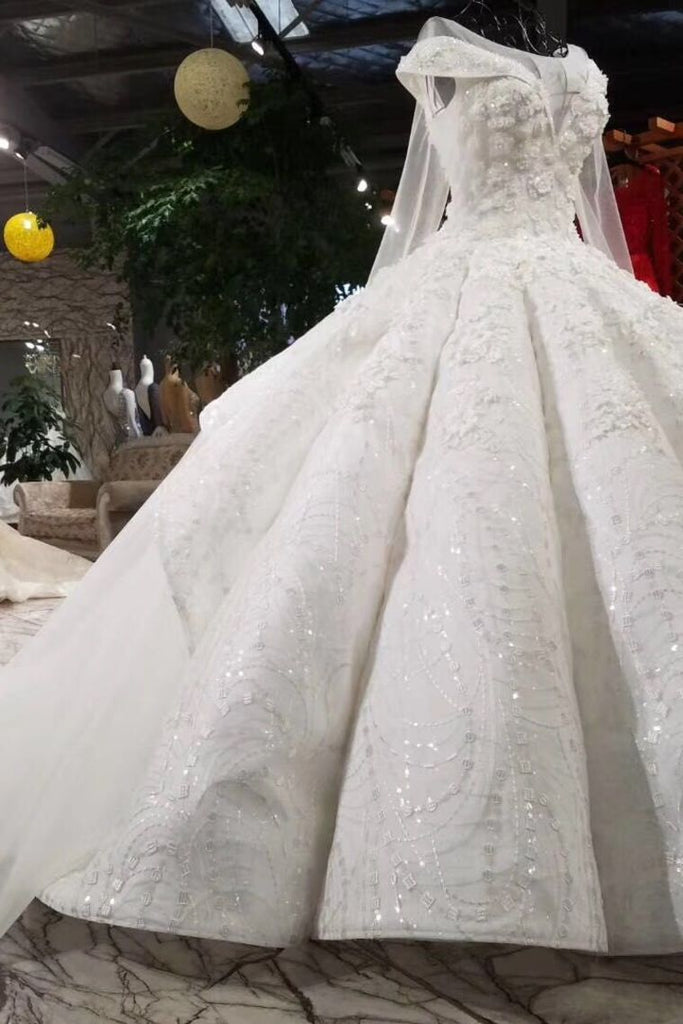 Ball Gown Wedding Dresses Royal Train Bateau Top Quality Lace