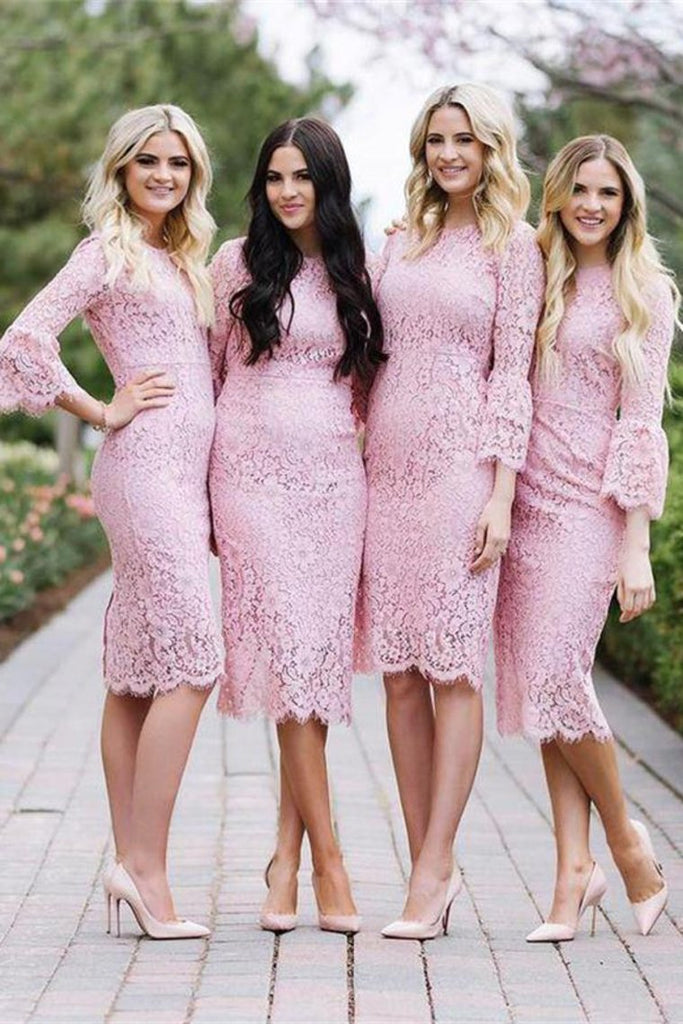 Sheath Tea Length Pink Lace Simple Elegant Bridesmaid Dresses With Sleeves
