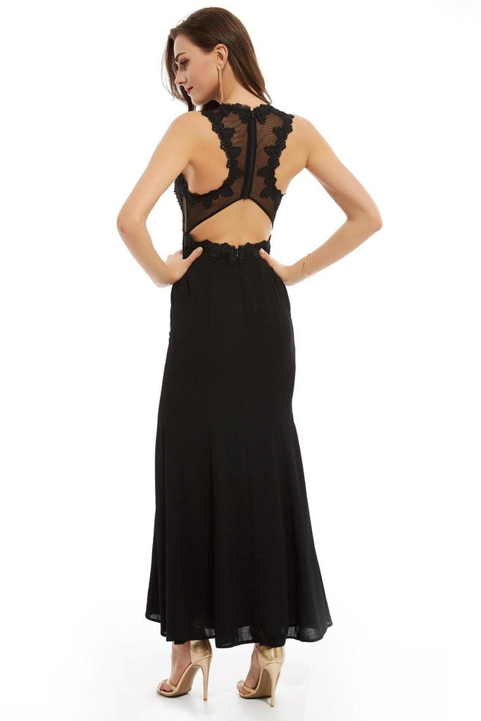 Scoop Open Back Prom Dresses Mermaid Tulle With Applique