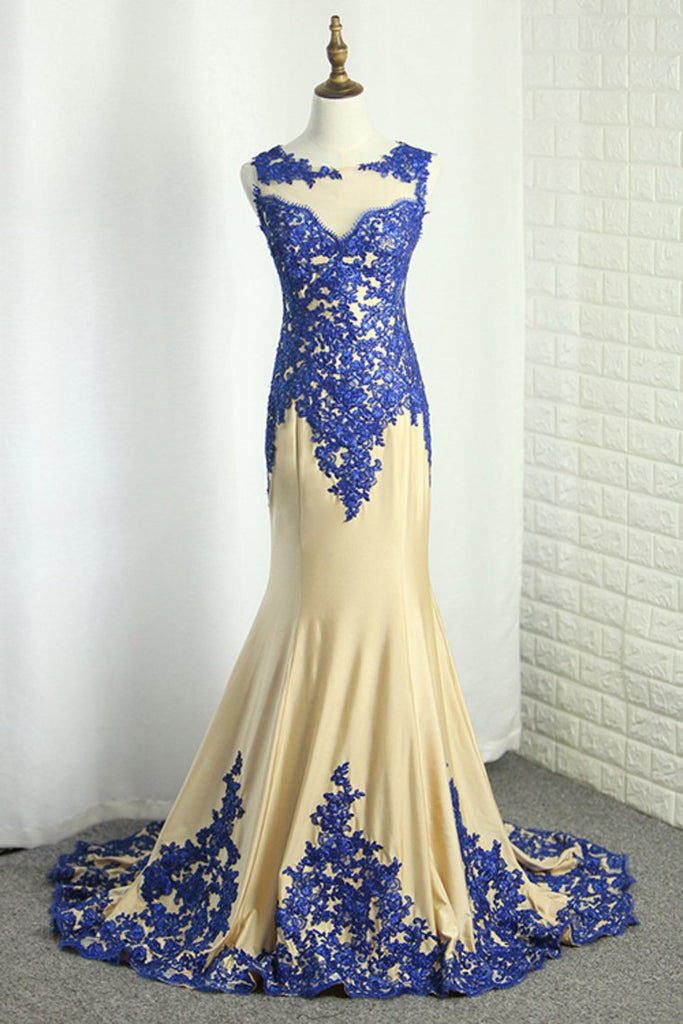 Scoop Spandex Prom Dresses Mermaid With Applique Sweep Train