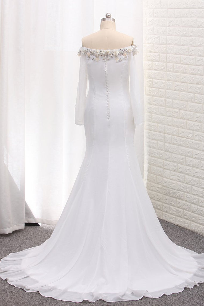 Long Sleeves Chiffon Off The Shoulder Mermaid Wedding Dresses With Beading