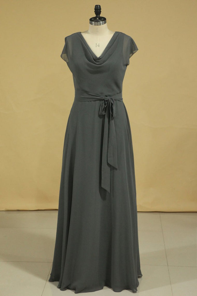 Floor Length Dress Cowl Neck Cap Sleeves With Sash Modified Circle Skirt Plus Size