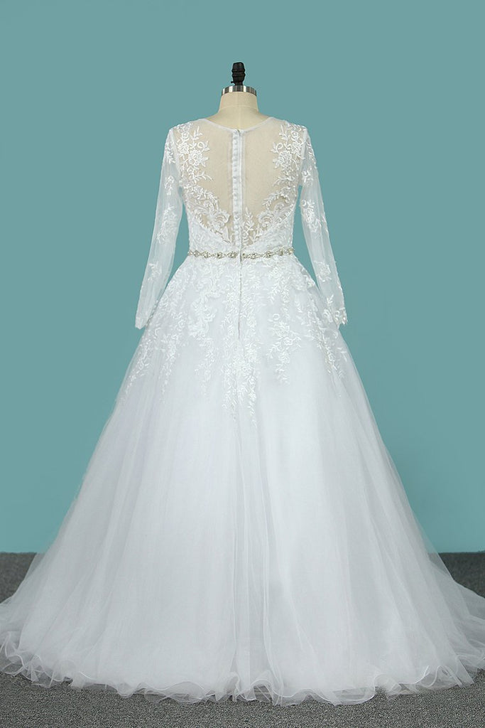 Wedding Dresses Scoop A Line With Beaded Belt Tulle With Appliques Sweep Train