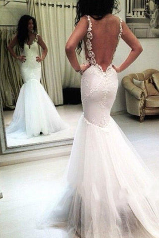 2019 New Arrival V Neck Wedding Dresses Mermaid Tulle With Applique