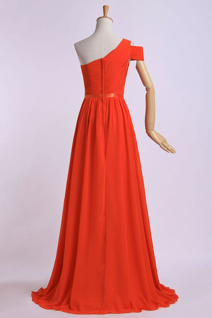 2019 One Shoulder Bridesmaid Dresses A-Line Chiffon Ruched Bodice