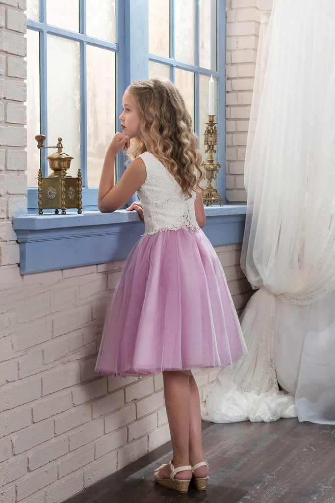 Bicolor Scoop Tulle & Lace A Line Knee Length Flower Girl Dresses