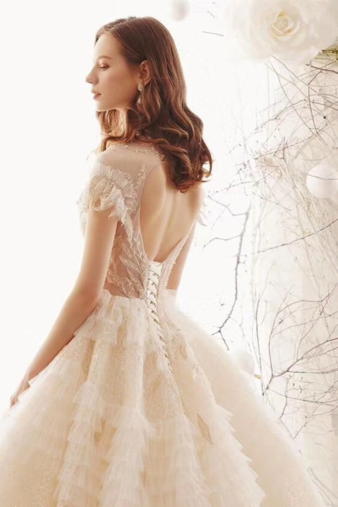 Ball Gown Wedding Dresses High Neck Top Quality Tulle Lace Up Back