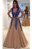 Prom Dresses V Neck Tulle With Beading Sweep Tran A Line