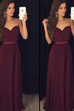 Vestido de Festa Burgundy Simple Chiffon Long Prom Dresses Sweetheart Prom Dresses JS756