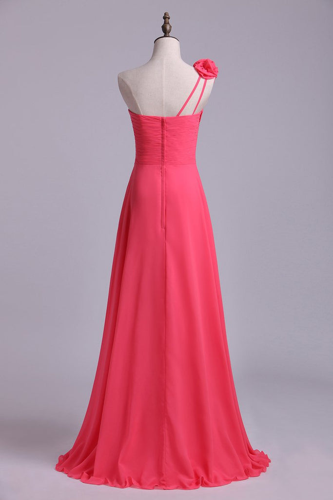 2019 One Shoulder A Line Bridesmaid Dress With Handmade Flowers Chiffon