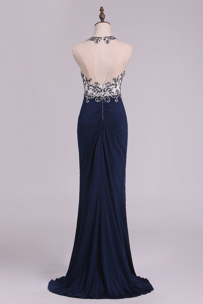Sexy Open Back Prom Dresses Sheath Scoop Spandex With Beading And Slit