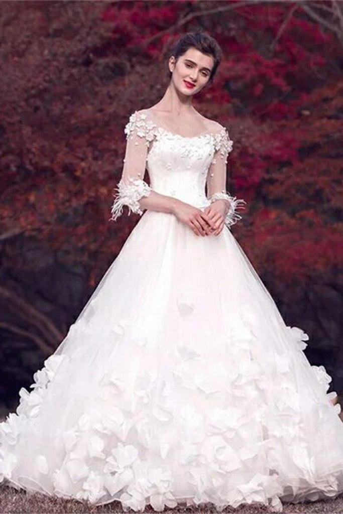 Modest Long Floor Length White Lace Ball Gown Lace Wedding Dresses Bridal Dresses