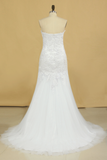 Sweetheart Wedding Dresses Tulle Mermaid/Trumpet With Applique