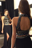 Black Chiffon Two Pieces Long High Neck Mid Section Detachable Skirt White Prom Dresses JS983