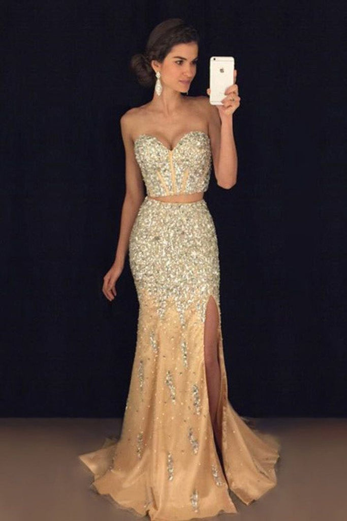 Two-Piece Sweetheart Prom Dresses Mermaid Tulle With Beads And Slit