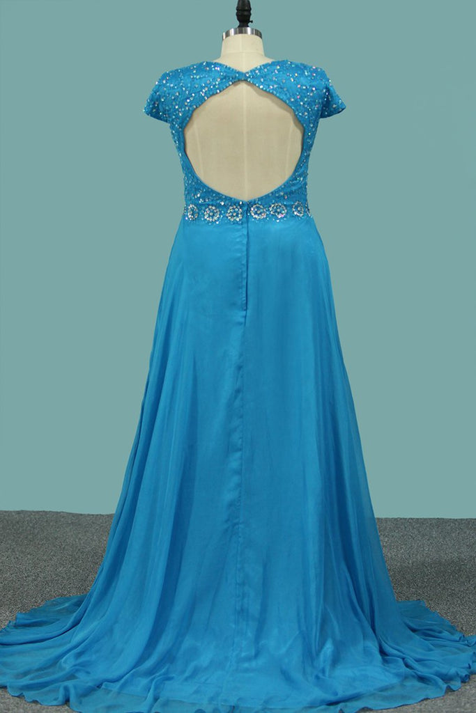 V Neck Short Sleeves Prom Dresses Chiffon With Beading And Slit Sweep Train