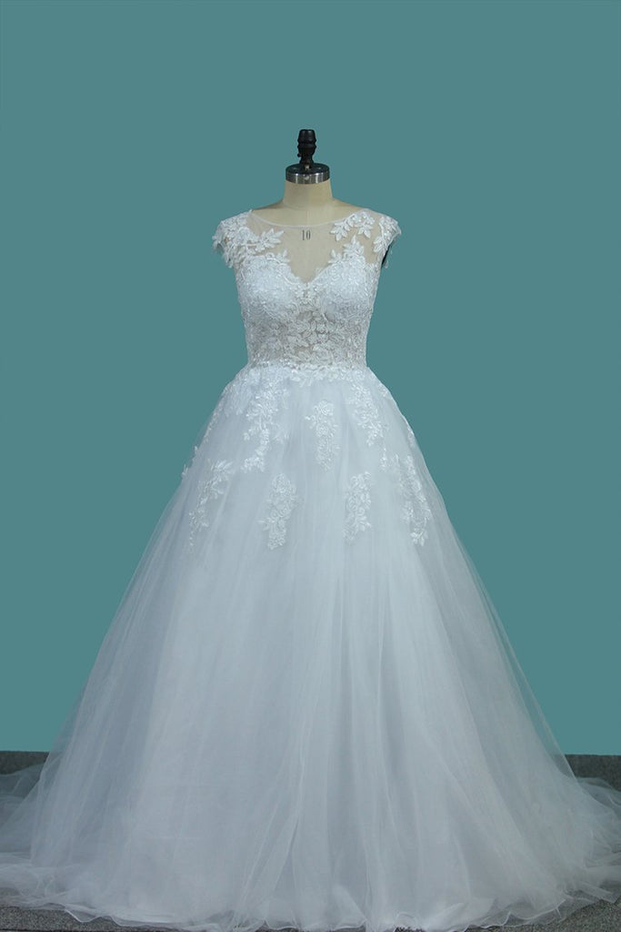 Tulle A Line Scoop Wedding Dresses With Applique Sweep Train