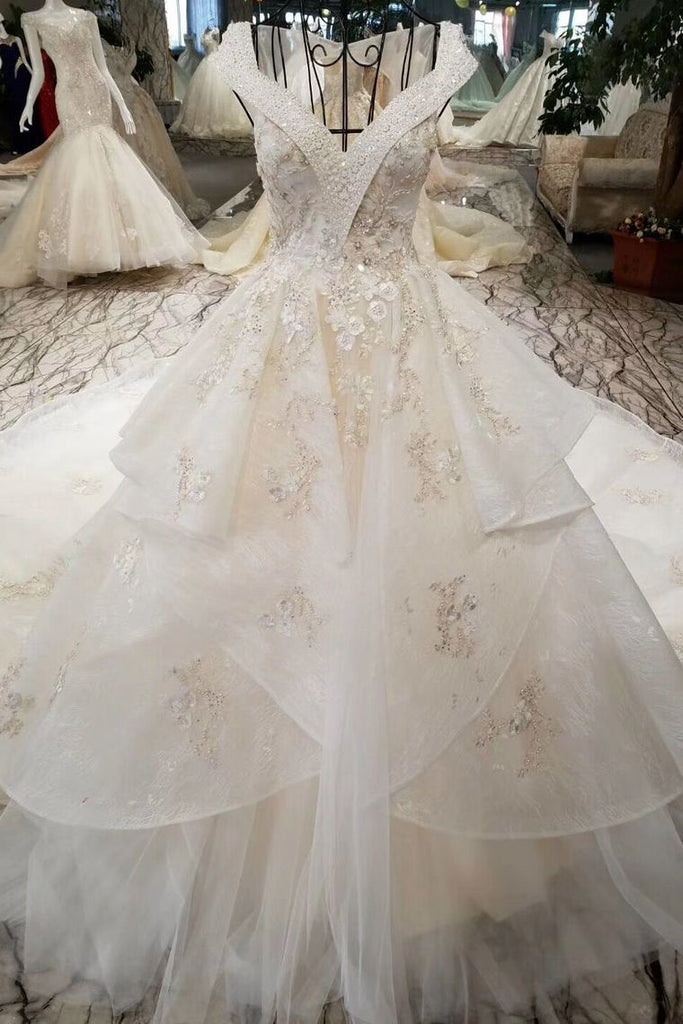 Champagne Wedding Gown V Neck Royal Train Handmade Beading Lace Up Back
