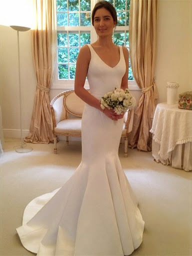 Deep V Neck Backless Vintage Mermaid Sleeveless Wedding Dresses Bridal Dresses JS329