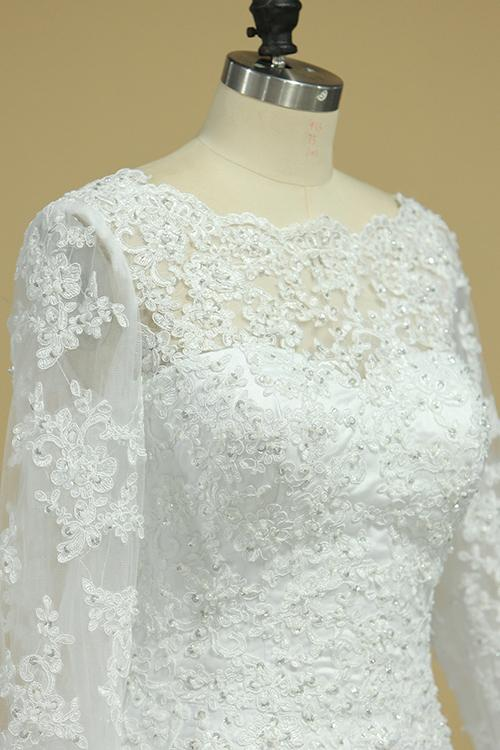 A Line Long Sleeves White Lace Appliques Satin Beads Open Back Wedding Dresses JS815