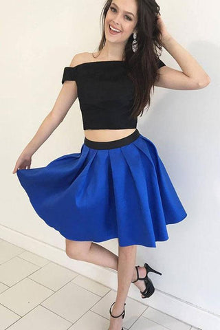 A-Line Black And Blue Satin Two Piece Off the Shoulder Homecoming Short Prom Dresses H1009