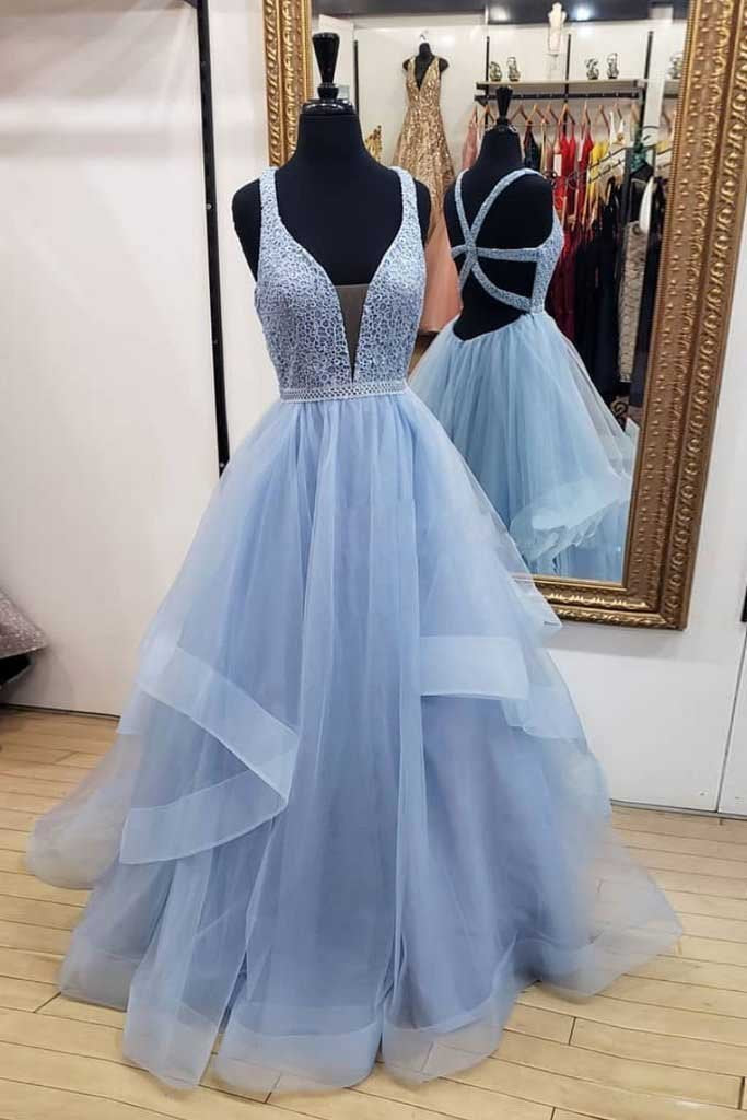 A-Line Blue Deep V Neck Tulle Prom Dresses Long Cheap Open Back Evening Dresses JS627