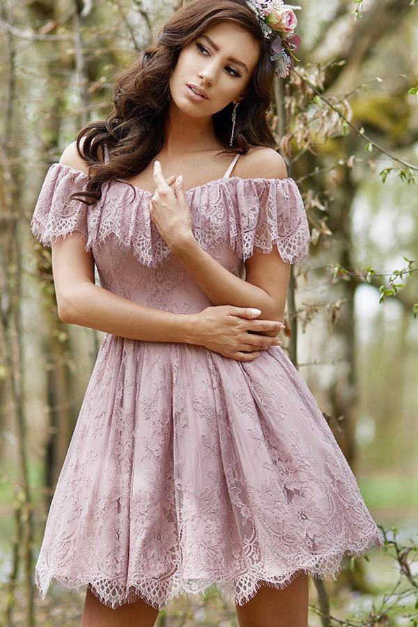 A-Line Cold Shoulder Purple Lace Homecoming Party Dress with Ruffles Prom Dresses H1340