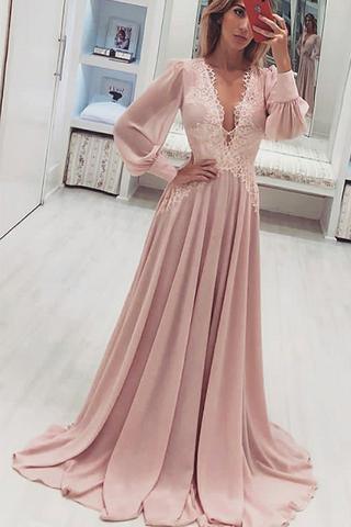 A-Line Deep V-Neck Long Pink Chiffon Prom Dress With Appliques Long Sleeves JS445