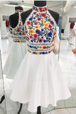 A-Line Luxury Embroidery White Homecoming Dress Halter Graduation Dresses JS808