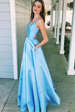 A Line V Neck Light Blue Satin Beautiful Prom Dresses With Pockets Sleeveless