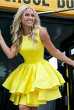 Cute A Line Round Neck Yellow Open Back Satin Sleeveless Short Homecoming Dresses JS949