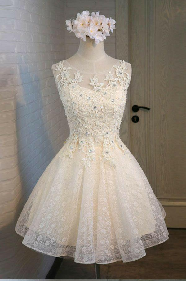 Cute A Line Lace Appliques Scoop Lace up Sequins Knee Length Homecoming Dresses JS965