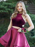 Cute A Line Burgundy Taffeta Two Pieces Halter Homecoming Dresses with Pockets JS978