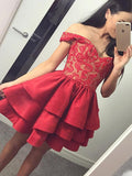 A Line Off the Shoulder Lace Red Satin Ruffles Layered Short Homecoming Dresses JS991