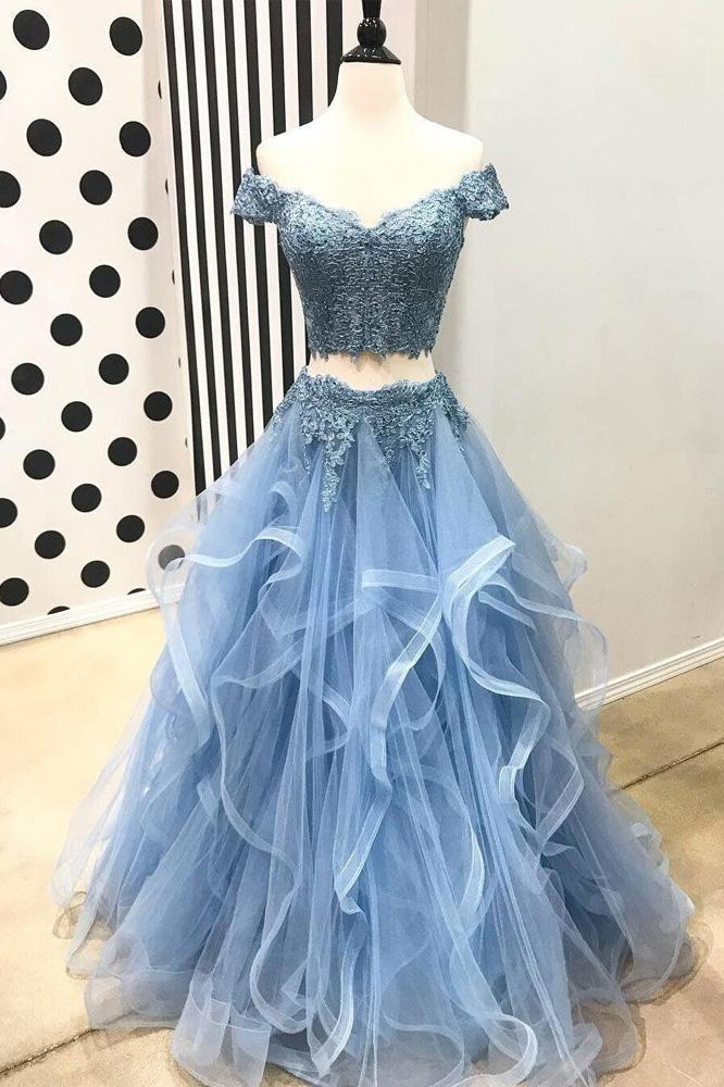 A Line Blue Lace Off the Shoulder Tulle Ruffled Beaded Two Piece Prom Dresses JS406