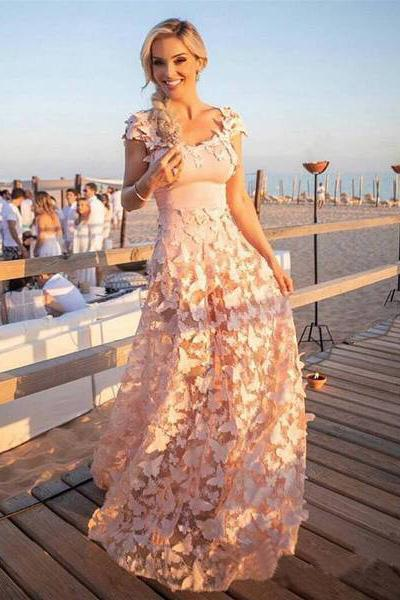 A Line Blush Pink 3D Butterfly Sweetheart Lace Long Prom Dresses with Cap Sleeve JS451