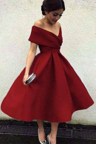 A Line Burgundy Off the Shoulder Short Prom Dresses V Neck Homecoming Dresses JS603