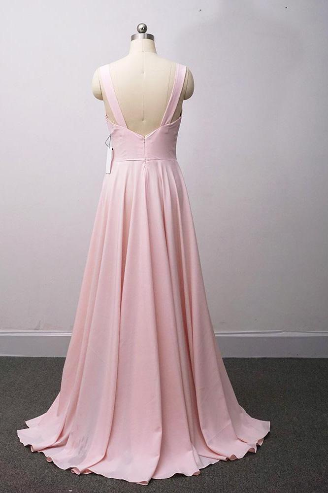 Hot Sale V Neck Long Prom Dresses Simple Cheap Bridesmaid Dresses