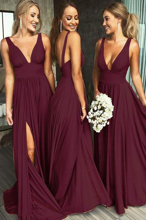 A Line Burgundy V Neck Ruffles Slit Bridesmaid Dresses Long Cheap Prom Dresses JS585