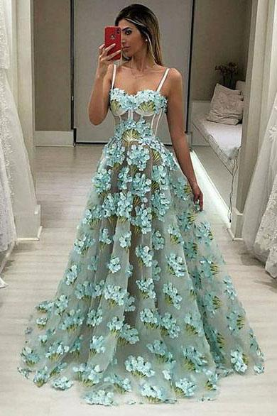A Line Chic Spaghetti Straps Sweetheart Appliques Green Prom Dresses Long Party Dresses P1036