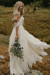 A Line Chiffon Ivory Off the Shoulder Sweetheart Beach Wedding Dresses JS581