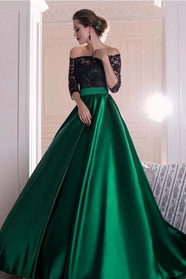 A Line Dark Green Satin Off the Shoulder 3/4 Sleeves Ruffles Lace Prom Dresses JS399