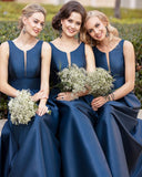 A Line Dark Navy Scoop Sleeveless Long Prom Dresses Simple Bridesmaid Dresses BD1000